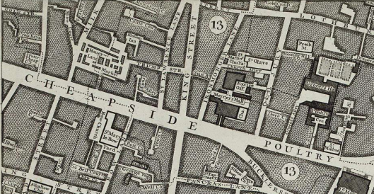 St Olave Old Jewry (between Ironmonger Lane and 'Old Jury') on Rocque's London map of 1746