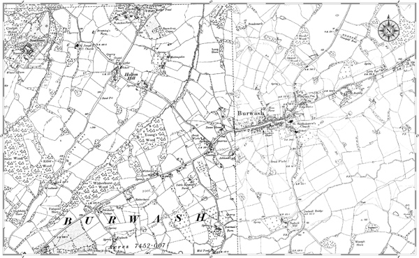 Old map of Burwash