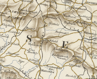 Old map showing part of East Sussex