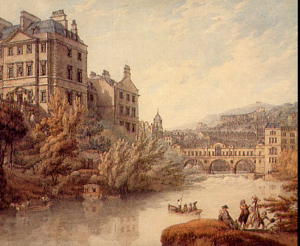 Thomas Hearne, 'View of Bath from Spring Gardens', mid-18th century via http://www.jimandellen.org
