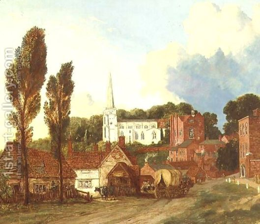 A View of Harrow, with St Mary's Church and the Old Schools Building and Yard, 1813