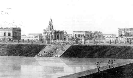 Calcutta in 1786. From an etching by Thomas Daniel. (Via sankalpa.tripod.com)