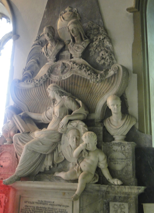 Monument to Elizabeth Hawkins in St Helen's church, Abingdon (via flickr.com)