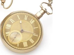 Early 19th century gold pocket watch by Grimalde and Johnson (via www. bonhams.com, with thanks to Christine Hoey)