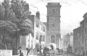 Thames Street, London, looking towards All Hallows church (via www.londonancestor.com)
