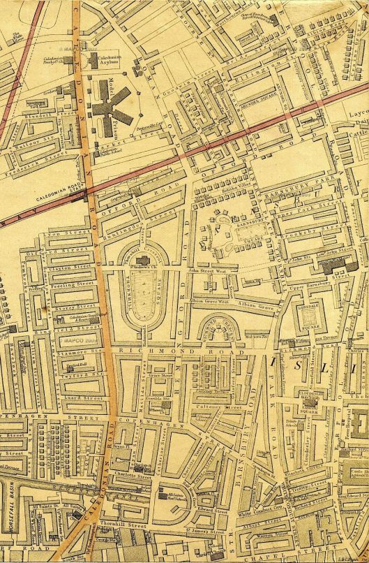 Barnsbury Square is near the top right of this section from Weller's London map of 1868