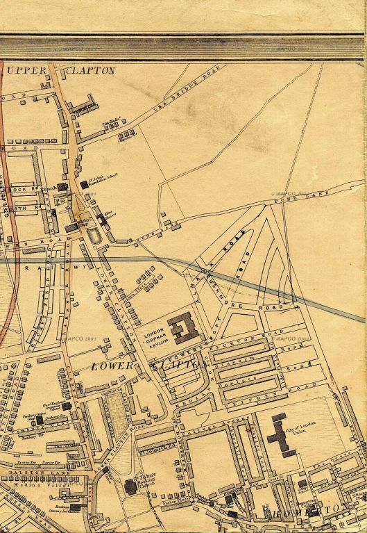 Clapton Road, from Weller's 1868 map of London