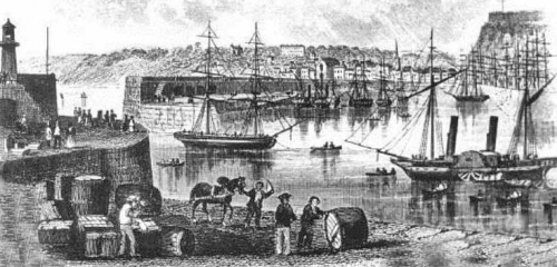 St Helier harbour, mid 19th century (via http://www.theislandwiki.org/)