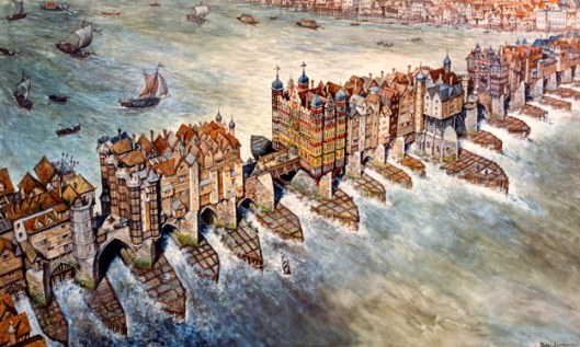 London Bridge in the 16th century (via wharferj.files.wordpress.com)