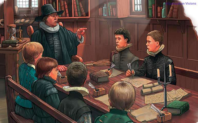 Tudor schoolmaster and pupils (via curriculumvisions.com)