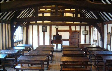 A Tudor schoolroom: Stratford Grammar School, attended by William Shakespeare