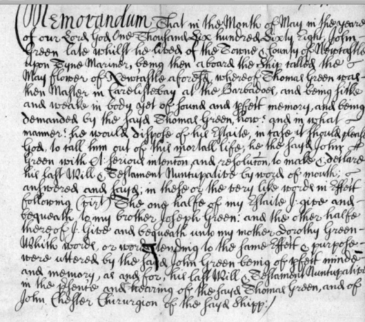 John Greene's will of 1668