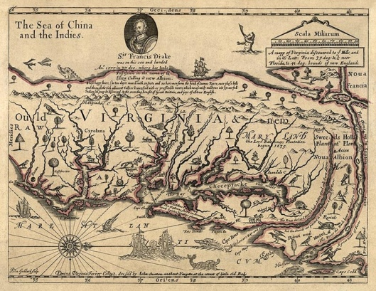 Seventeenth century map of Virginia and Maryland