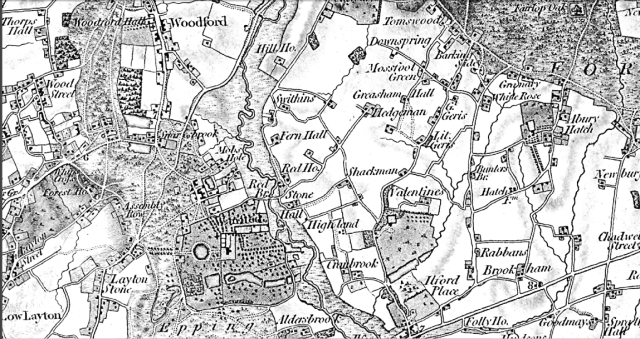Map of Barkingside in the early 19th century, showing locations where the Londors family lived and worked