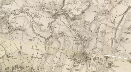 Early nineteenth-century map of the Evesham area in Worcestershire