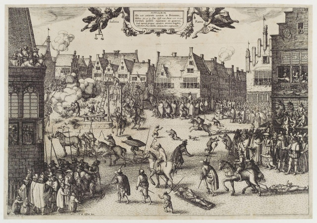 Contemporary print showing Gunpowder plotters being hanged, drawn and quartered