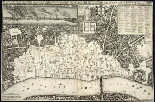 A map of London, published in 1667, showing the extent of the Great Fire .