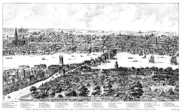 Wyngaerde's 1542 panorama of London, from Southwark