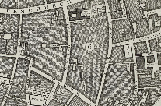 Part of Rocque's 1746 map of London, showing part of Crutched Friars and surrounding area