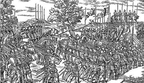 Elizabethan harquebusiers and pikemen on the march in Ireland (via www.alderneywreck.com)