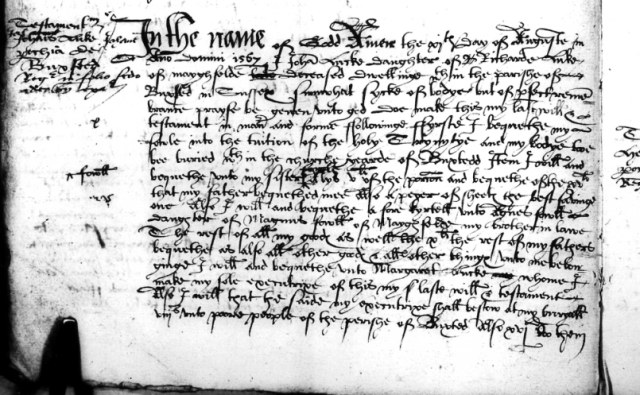 Part of the will of Joha. Lucke of Mayfield (1567)