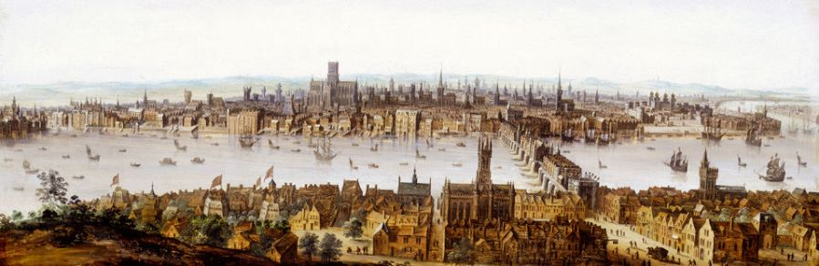 London from Southwark. Oil on wood. This is a view of London taken from Southwark in the mid-1600s before the Great Fire. It shows Southwark in the foreground, with the playhouses on the left-hand side and the cathedral in the centre. London Bridge spans the river and then the City of London itself is on the north bank of the Thames, shown as a huddle of crowded, narrow houses and church spires. The writer John Evelyn described London as 'this Glorious and Antient City…so full of Stink and Darknesse' in his Fumifugium of 1661. He went on to call the buildings 'such a Congestion of mishapen and extravagant Houses'. This 'congestion' of houses and industries belched out huge amounts of smoke into the atmosphere and created a massive fire risk. The Great Fire of London was an accident waiting to happen.